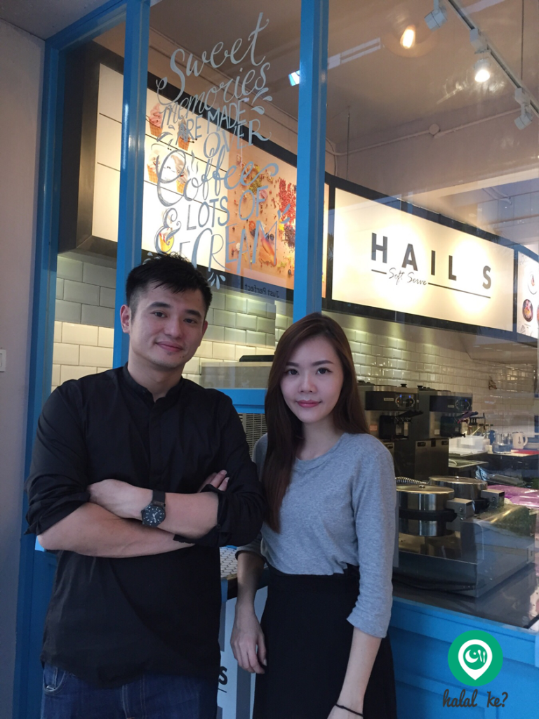 Hail's founders Jason Chong and Jess Au proudly stands in front of their Uptown Damansara soft serve joint.
