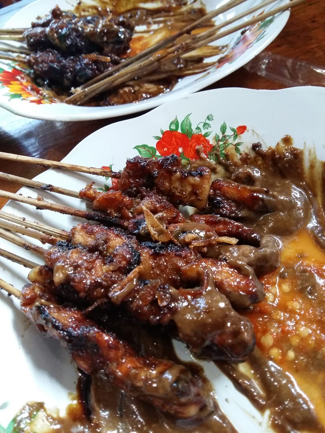 Chicken and Beef Satay found in popular streets of Jakarta.